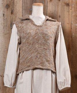 古着Made in Itary Collared  Beige Knit Vest イタリア製 襟付き ニットベスト ベージュ系 古着のネット通販 古着屋グレープフルーツムーン