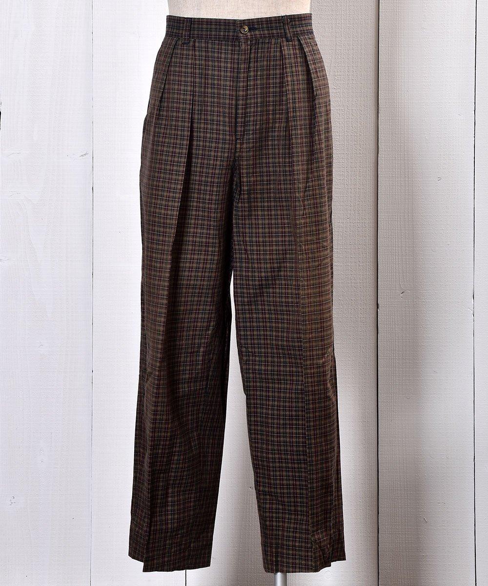 古着 Cotton Rayon Mix Fabric Checked Pattern Slacks|コットン・レーヨン素材チェック柄スラックス W32インチ 古着 ネット 通販 古着屋グレープフルーツムーン