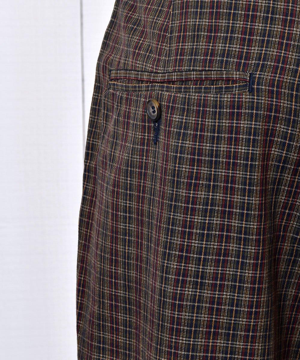 Cotton Rayon Mix Fabric Checked Pattern Slacks|コットン・レーヨン素材チェック柄スラックス W32インチサムネイル