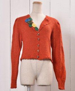 古着Made in Europe Knit Cardigan Puff Sleeve Open Collar|ヨーロッパ製 ニットカーディガン パフスリーブ オープンカラー 古着のネット通販 古着屋グレープフルーツムーン