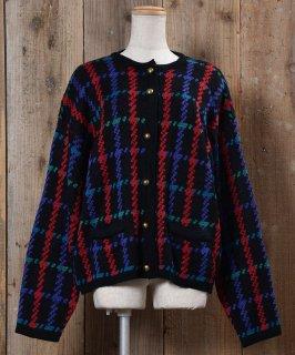 古着Knit Cardigan Hounds Tooth|ニットカーディガン 千鳥格子 古着のネット通販 古着屋グレープフルーツムーン