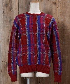 古着Made in USA Knit Cardigan Tartan Check|アメリカ製 ニットカーディガン タータンチェック 古着のネット通販 古着屋グレープフルーツムーン
