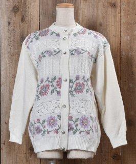 古着Long Sleeve Knit Cardigan Flower |ロングスリーブ ニットカーディガン 飾り編み 花 古着のネット通販 古着屋グレープフルーツムーン