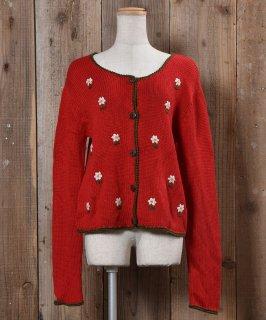 古着Made in Europe Tyrolian Cardigan Embroidered Flower Wood Button|ヨーロッパ製 チロルカーディガン 刺繍 花 古着のネット通販 古着屋グレープフルーツムーン