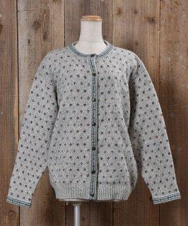 古着Long Sleeve Knit Cardigan Small Pattern Wool |ロングスリーブ ニットカーディガン 小紋柄 古着のネット通販 古着屋グレープフルーツムーン