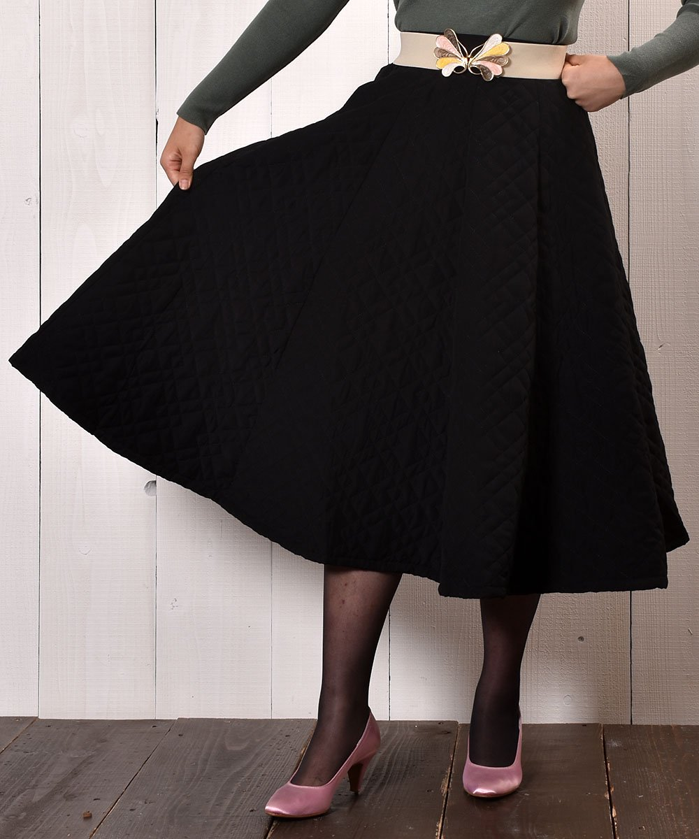 "【3 Color Available】 ""Meridian"" Circular Quilting Skirt|サーキュラー キルティングスカート ライムグリーンサムネイル"