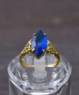 古着ヨーロッパ製 イミテーションサファイア ゴールドカラーリング Made in Europe Gold Color Ring Imitation Sapphire 古着のネット通販 古着屋グレープフルーツムーン