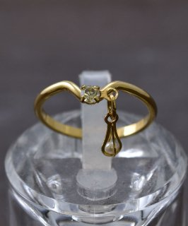 古着ヨーロッパ製 イミテーションダイアモンド ゴールドカラーリング|Made in Europe Gold Color Ring Imitation Diamond 古着のネット通販 古着屋グレープフルーツムーン
