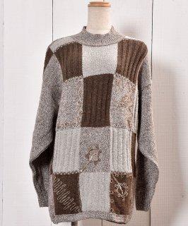 古着イタリア製 リブタートル セーター 切り替え柄|Made in Italy Knit Sweater Rib Turtle Neck 古着のネット通販 古着屋グレープフルーツムーン