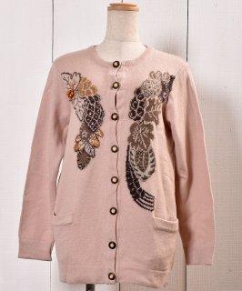 古着 ビーズ ニットカーディガン 飾りボタン |Knit Cardigan Beads 古着のネット通販 古着屋グレープフルーツムーン