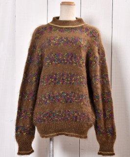 古着日本製 モヘア セーター デザインボーダー タートル|Made in Japan Mohair Knit Sweater Border  古着のネット通販 古着屋グレープフルーツムーン
