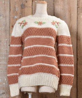 古着ボーダー ニットセーター 花| Knit Sweater Border&Flower 古着のネット通販 古着屋グレープフルーツムーン