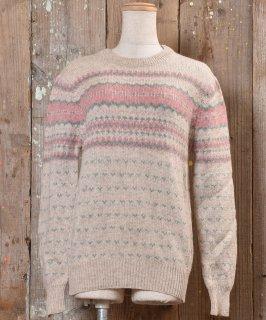 古着ノルディック ニットセーター ピンク×ブルー| Knit Sweater Nordic  古着のネット通販 古着屋グレープフルーツムーン