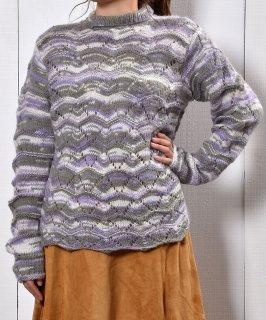 古着立体編み 長袖ローゲージニット パープル×ホワイト|3D Knitting Long Sleeve Low-Gauge Knit  古着のネット通販 古着屋グレープフルーツムーン