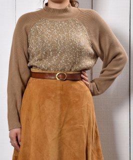 古着切り替えデザイン ニット ライトブラウン|Switch Pattern Design Long Sleeve Knit  古着のネット通販 古着屋グレープフルーツムーン