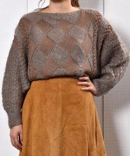 古着モヘア調ドルマンスリーブ デザインニット|Dolman Sleeve Design Knit  古着のネット通販 古着屋グレープフルーツムーン