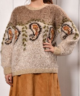 古着ペイズリー柄 リラックスシルエット ローゲージニット|Paisley Design Low-Gauge Knit 古着のネット通販 古着屋グレープフルーツムーン