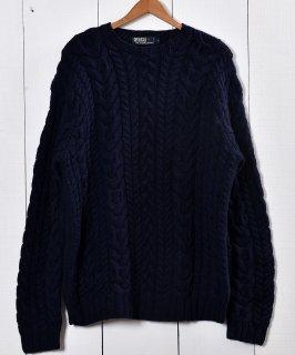 古着 「Ralph Lauren」ケーブル編みセータ— ネイビー |