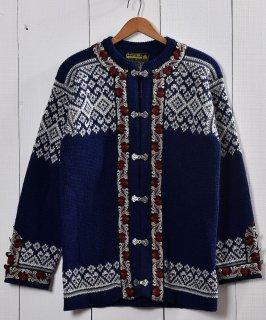 古着ノルウェー製 ウール  セーター ノルディック柄 ネイビー |Made in Norway Wool  Knit Sweater Navy 古着のネット通販 古着屋グレープフルーツムーン