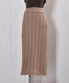 """古着""""Meridian"""" ニット タイトスカート ベージュ Knit Tight Skirt Beige 古着のネット通販 古着屋グレープフルーツムーン"""