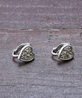 古着ハート形 シルバーカラー ストーンイヤリング|Silver Color Earrings Heart 古着のネット通販 古着屋グレープフルーツムーン