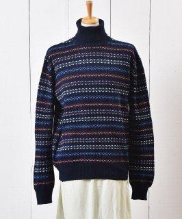 古着イタリア製 タートルネック ジャガード ニット セーター |Made in Itary Border Jaquard  Knit Sweater 古着のネット通販 古着屋グレープフルーツムーン