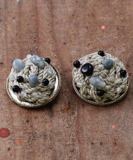 古着丸型 ロープデザイン ビーズイヤリング|Rope Design Earrings Beads 古着のネット通販 古着屋グレープフルーツムーン