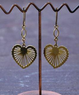 古着ハートチャーム ゴールドカラー カットワーク イヤリング|Gold Color Earrings Heart 古着のネット通販 古着屋グレープフルーツムーン