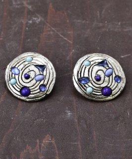 古着丸型 スパイラルデザイン シルバーカラーイヤリング|Spiral Silver Color Earrings  古着のネット通販 古着屋グレープフルーツムーン