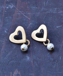 古着ハートモチーフ ゴールドカラー イミテーションパールピアス|Imitation Perl Gold Color Pierced Earrings Heart  古着のネット通販 古着屋グレープフルーツムーン