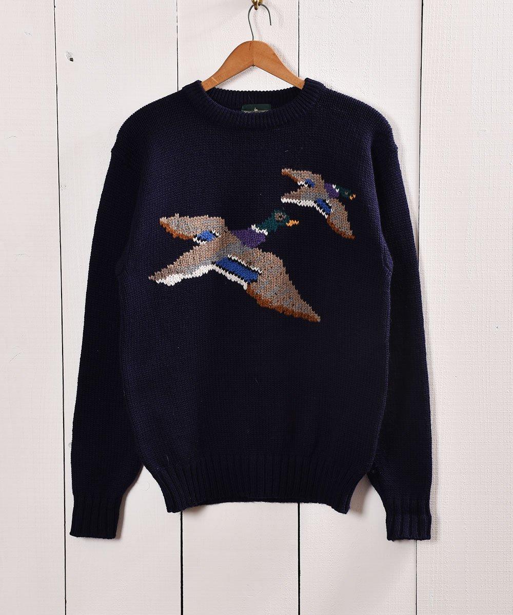 古着 鴨柄 ハンティング風 ローゲージニット |Duck Design Low-Gauge Knit 古着 ネット 通販 古着屋グレープフルーツムーン