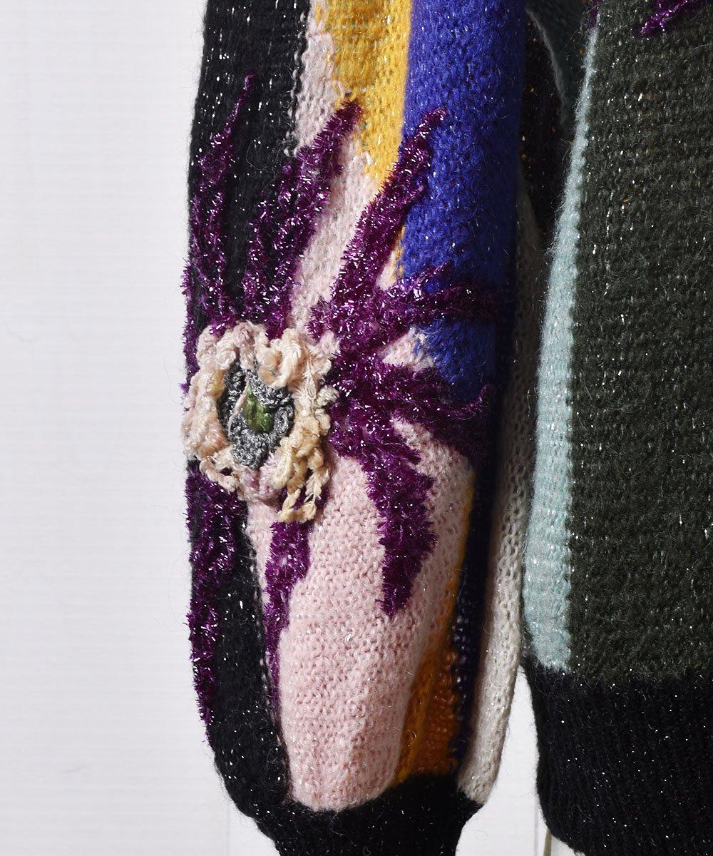 ヨーロッパ製 花モチーフ付き ラメニット カーディガン Made in Euro Flower Motif Design Cardiganサムネイル