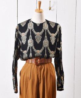 古着ラメ シースルー オーナメント柄 プルオーバー トップス|Lame See-through Ornament Pattern Pullover Tops 古着のネット通販 古着屋グレープフルーツムーン