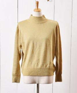 古着ゴールドラメ  タートルネック セーター|Gold Lame Turtle Neck Knit Sweater  古着のネット通販 古着屋グレープフルーツムーン