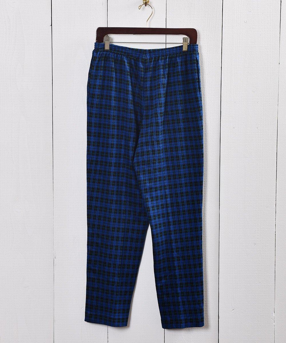 古着 ブルー×ブラック チェック柄 イージーパンツ Blue ×Black Check Pattern Easy Pants  古着 ネット 通販 古着屋グレープフルーツムーン