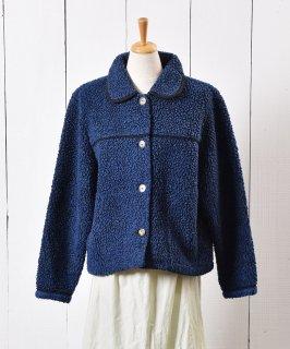 古着カナダ製 丸襟 フリースジャケット ネイビー 古着のネット通販 古着屋グレープフルーツムーン