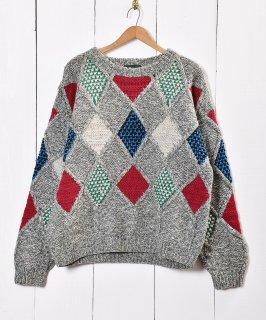 古着ミックスネップ デザインニットセーター 古着のネット通販 古着屋グレープフルーツムーン