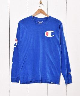 古着Champion ロングスリーブ Tシャツ ブルー 古着のネット通販 古着屋グレープフルーツムーン
