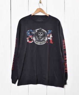 古着ロングスリーブ プリントシャツ ブラック 古着のネット通販 古着屋グレープフルーツムーン