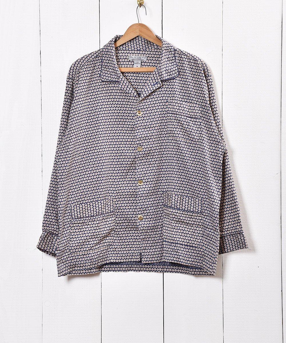 古着 ヨーロッパ製 小紋柄 パジャマシャツ ネイビー 古着 ネット 通販 古着屋グレープフルーツムーン