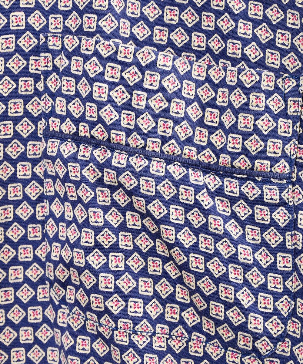 ヨーロッパ製 小紋柄 パジャマシャツ ネイビーサムネイル