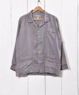 古着ヨーロッパ製 小紋柄 パジャマシャツ ネイビー 古着のネット通販 古着屋グレープフルーツムーン