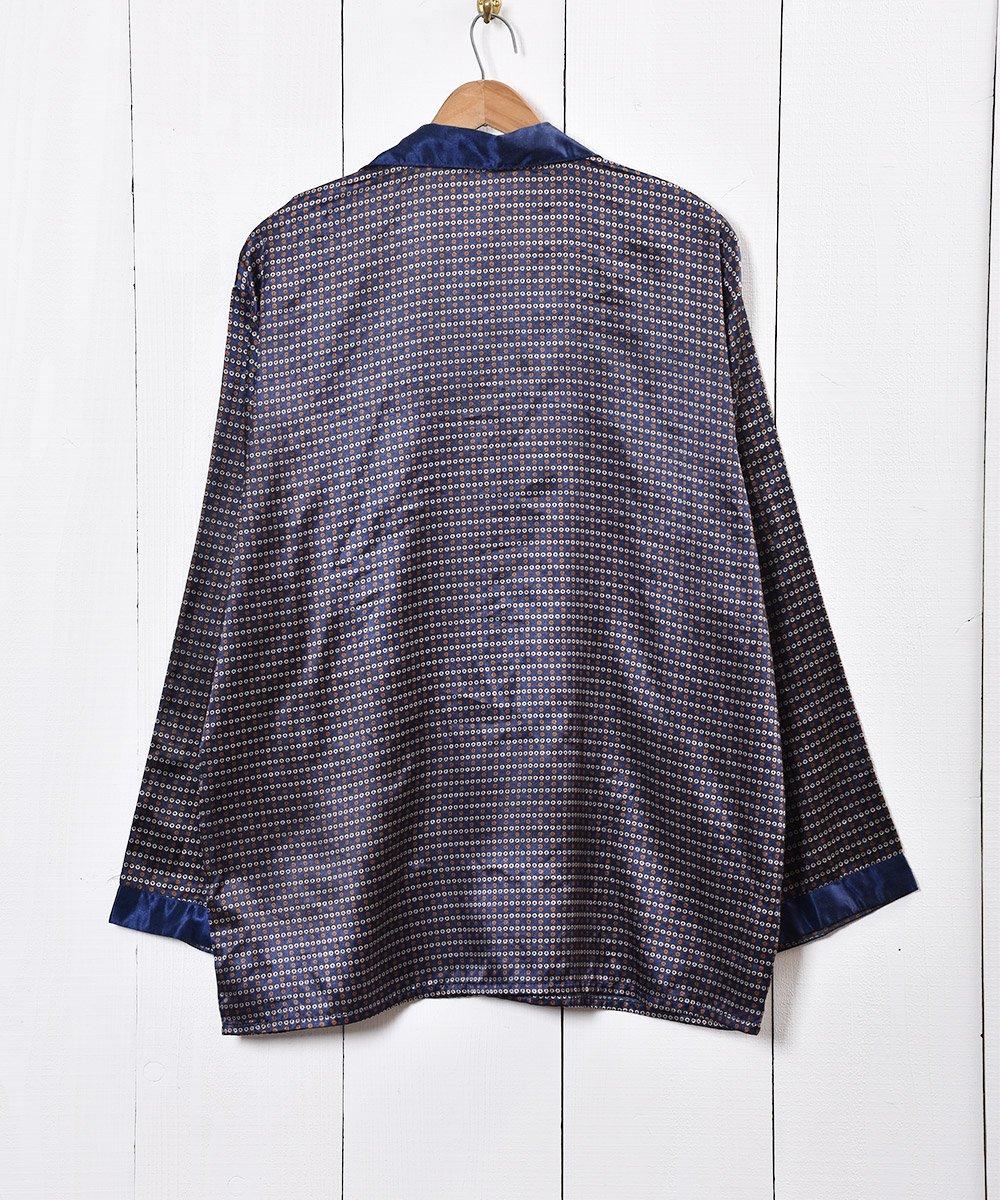 小紋柄 パジャマシャツ ネイビーサムネイル