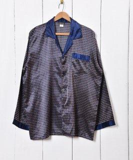 古着小紋柄 パジャマシャツ ネイビー 古着のネット通販 古着屋グレープフルーツムーン
