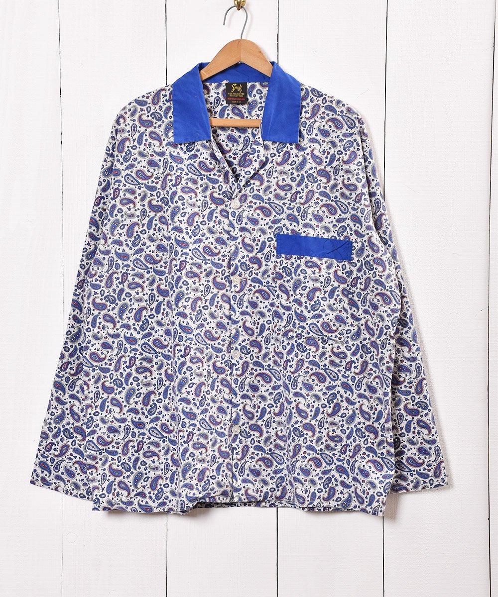 古着 イギリス製 ペイズリー柄 パジャマシャツ  古着 ネット 通販 古着屋グレープフルーツムーン
