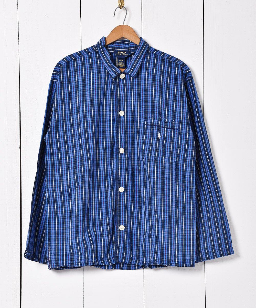 古着 Ralph Lauren チェック柄 パジャマシャツ ブルー 古着 ネット 通販 古着屋グレープフルーツムーン