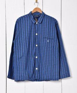 古着Ralph Lauren チェック柄 パジャマシャツ ブルー 古着のネット通販 古着屋グレープフルーツムーン