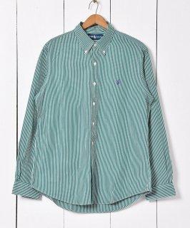 古着Ralph Lauren ストライプ コットンシャツ グリーン 古着のネット通販 古着屋グレープフルーツムーン