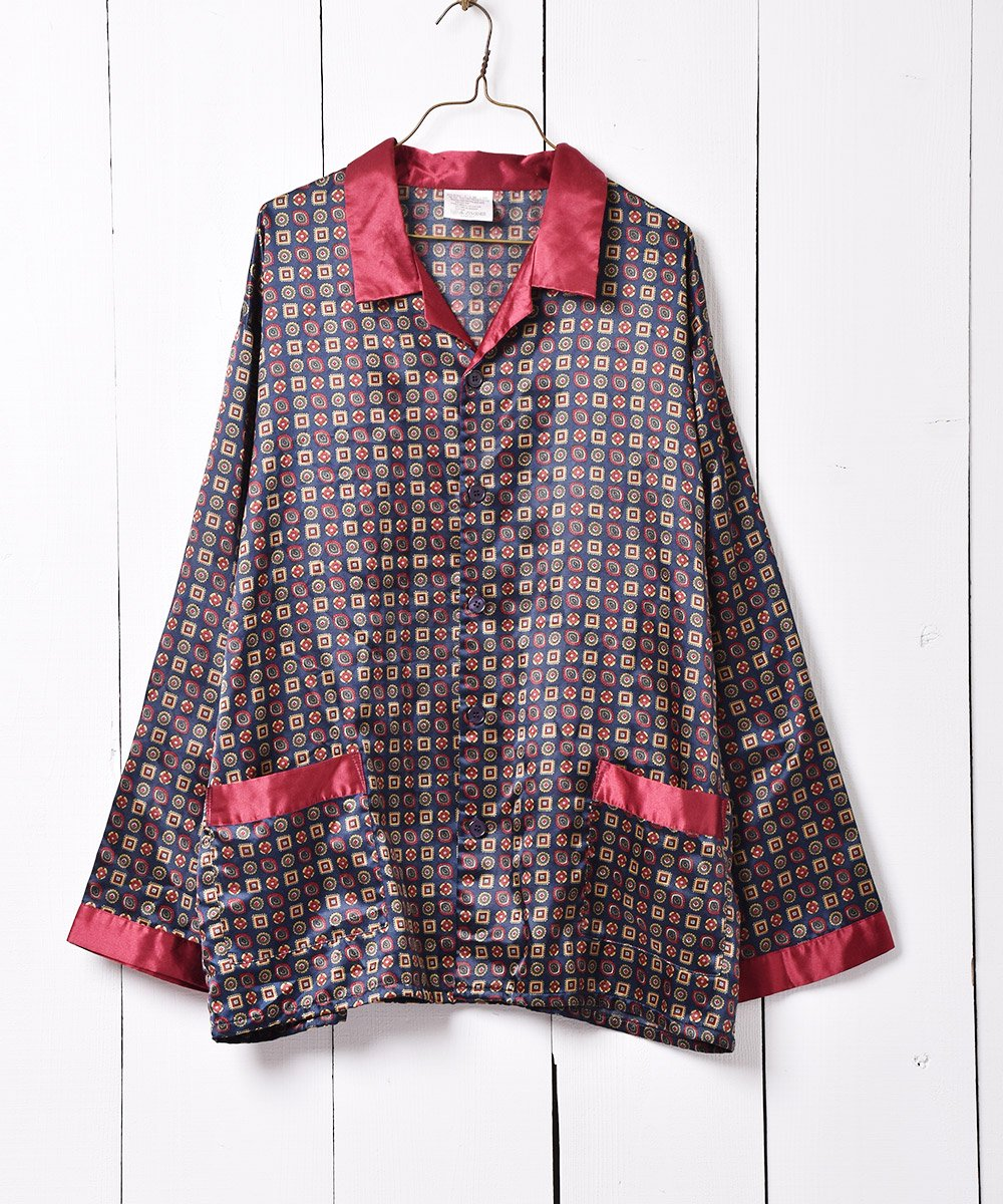 古着 ヨーロッパ製 ネイビー×ボルドー 小紋柄 パジャマシャツ 古着 ネット 通販 古着屋グレープフルーツムーン