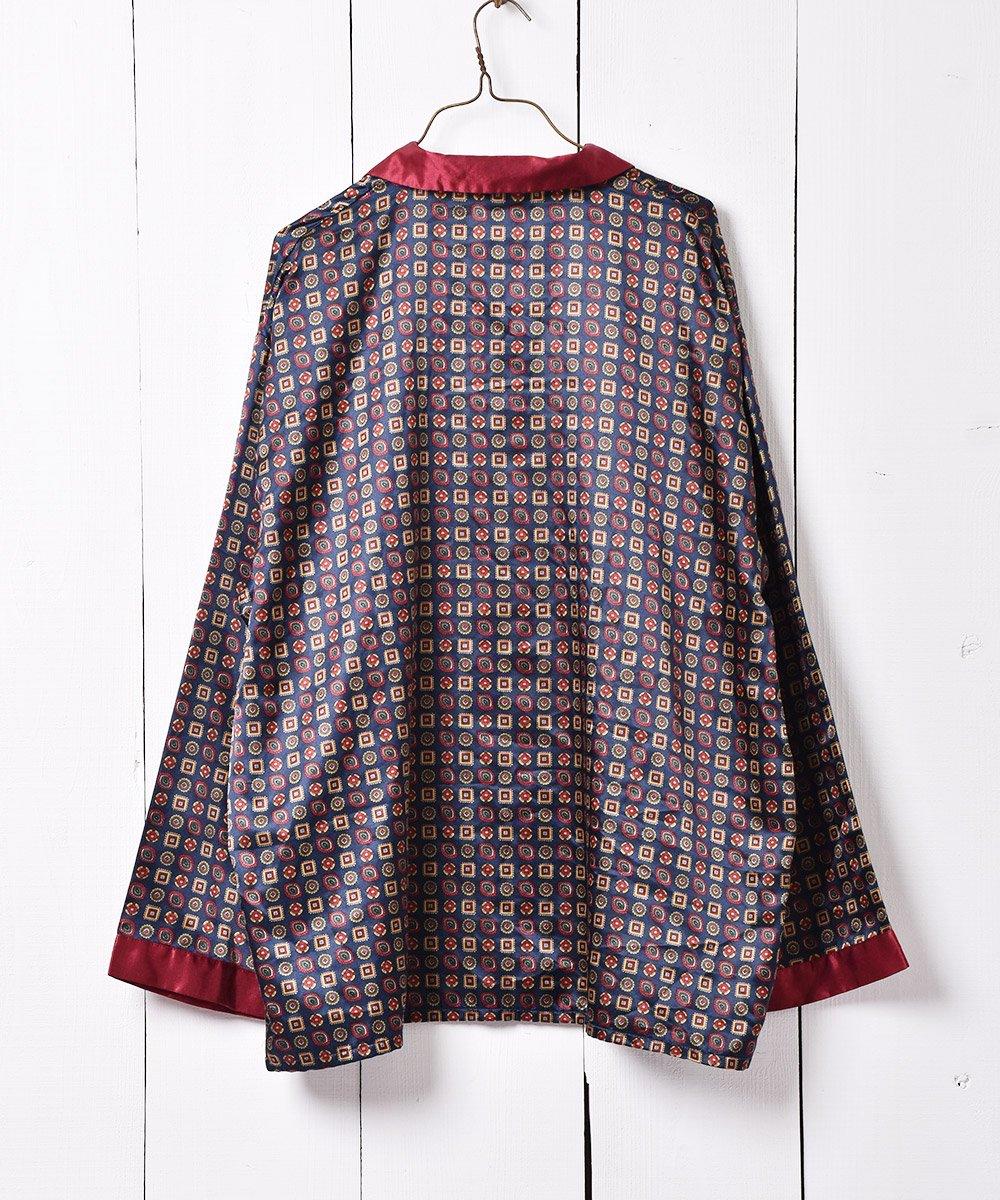 ヨーロッパ製 ネイビー×ボルドー 小紋柄 パジャマシャツサムネイル